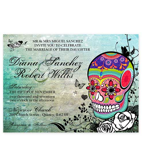 Multicolored Sugar Skull Wedding Invite Horizontal