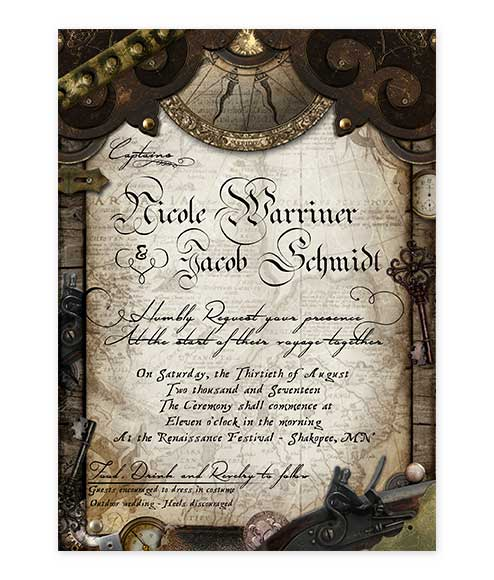 pirate themed old world wedding invitation archives