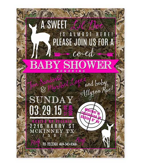 Lil Doe Pink Camouflage Baby Shower Invite