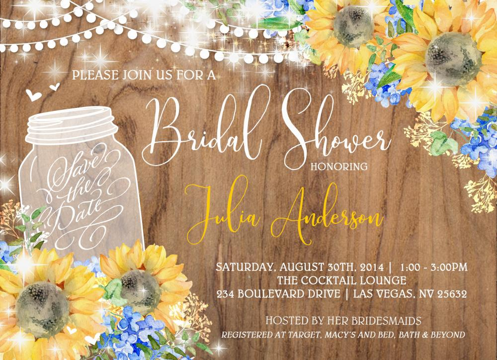 Rustic Mason Jar with Lace Shower Invitation
