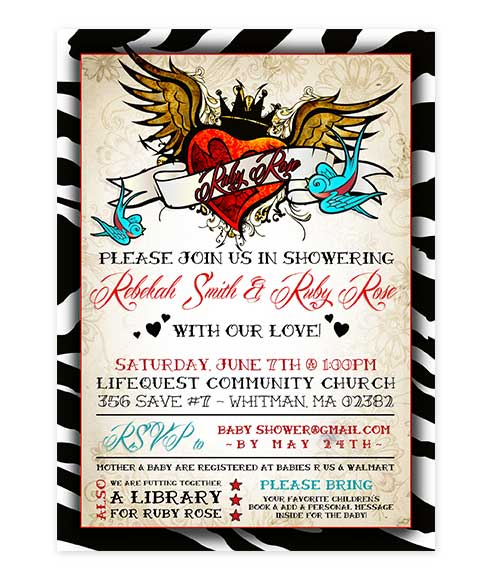Rockabilly Zebra Print Baby Shower Invitation For Offbeat Parties