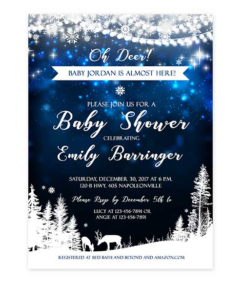 Starry Night Galaxy Deer Baby Shower Invitation