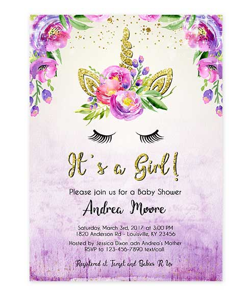 Unicorn Gold Glitter Purple Watercolor Baby Shower