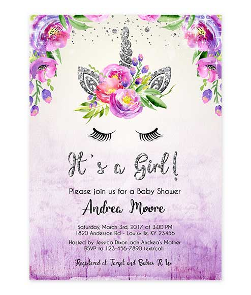 Unicorn Silver Glitter Purple Watercolor Baby Shower