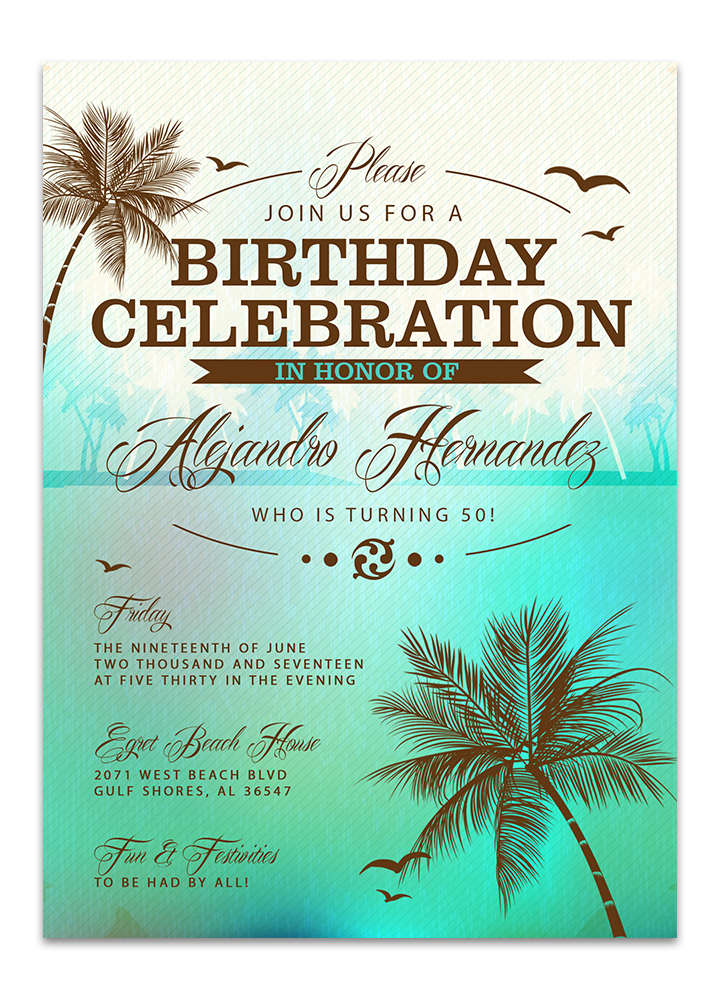 Tropical Beach Sea Green Birthday Invitation