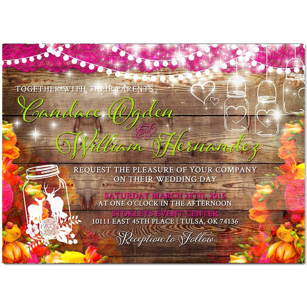 Floral Bohemian Deer Wedding Invitation