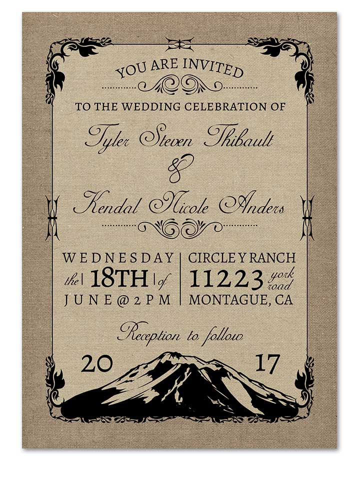 Mountain Themed Burlap Wedding Invitation