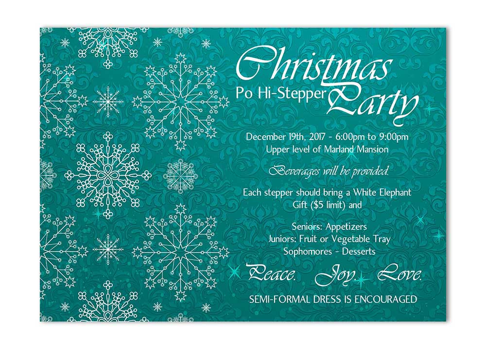 snowflake and flourishes christmas party invitation blue odd lot
