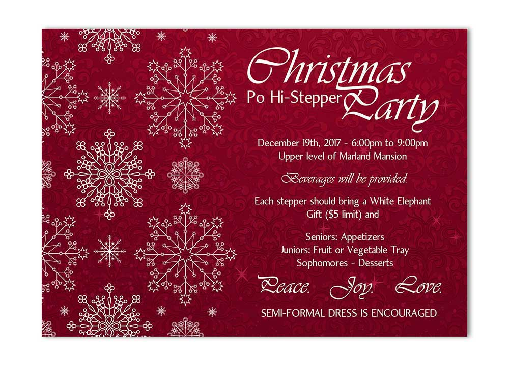 Snowflake and Flourishes Christmas Party Invitation - Red - Odd Lot ...