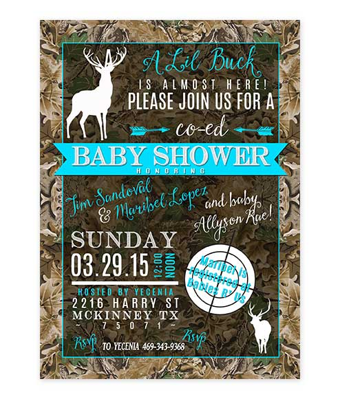 Lil Buck Blue Camouflage Baby Shower Invite