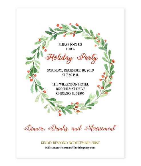 Christmas Invitations.Watercolor Holly Wreath Christmas Party Invitation