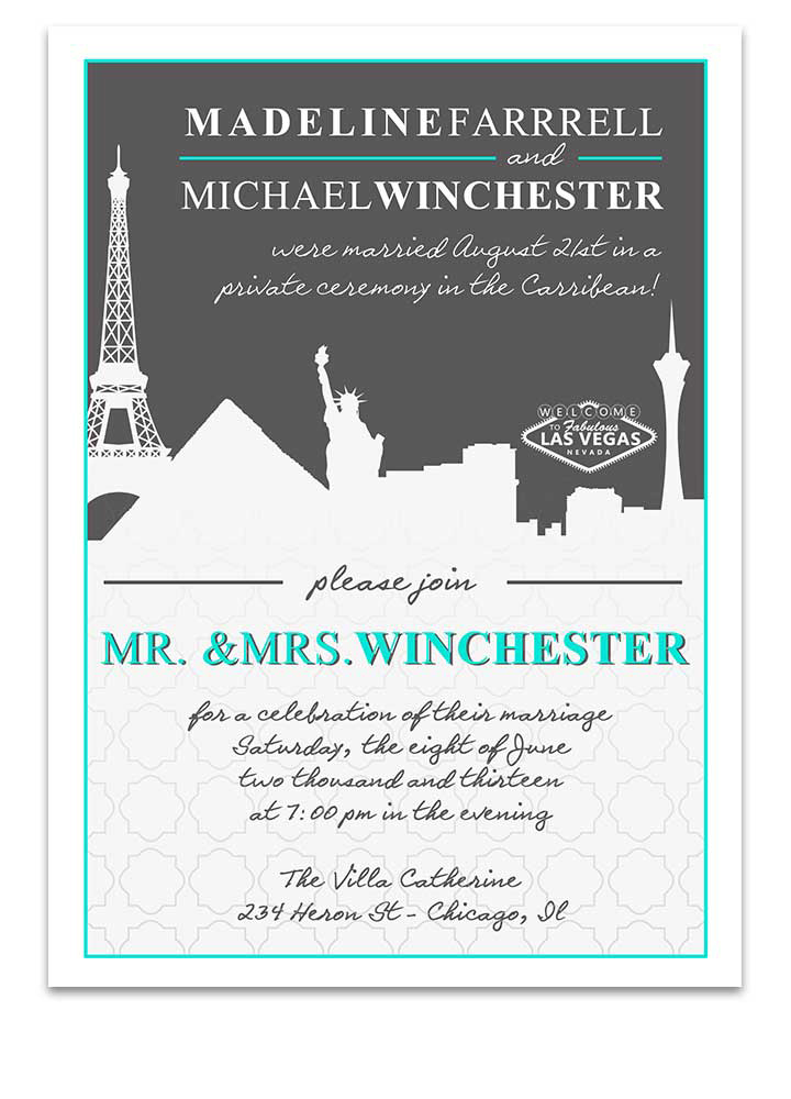 Las Vegas Cityscape Scenic Wedding Invitation