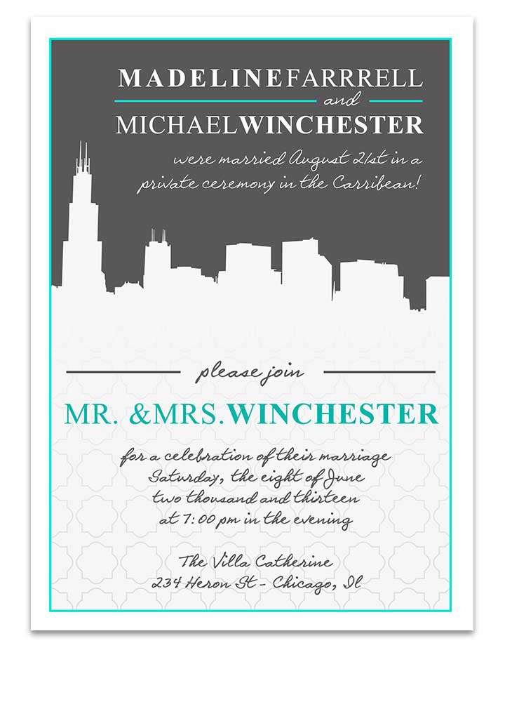 Chicago Cityscape Scenic Wedding Invitation