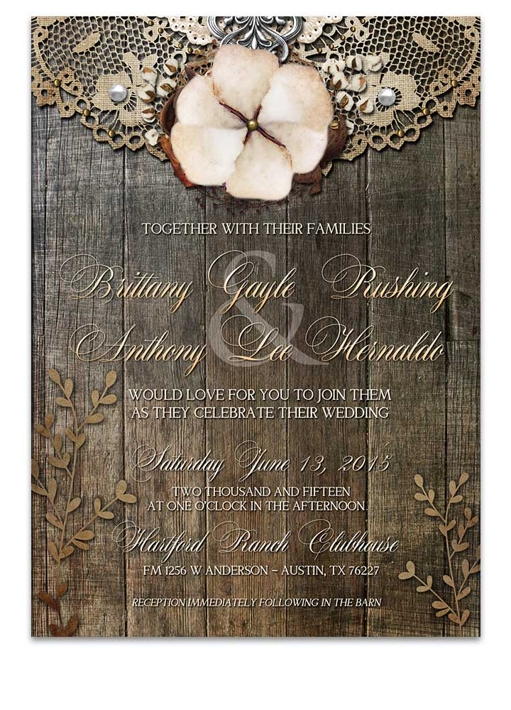 Rustic Cotton with Lace Wedding Invitation
