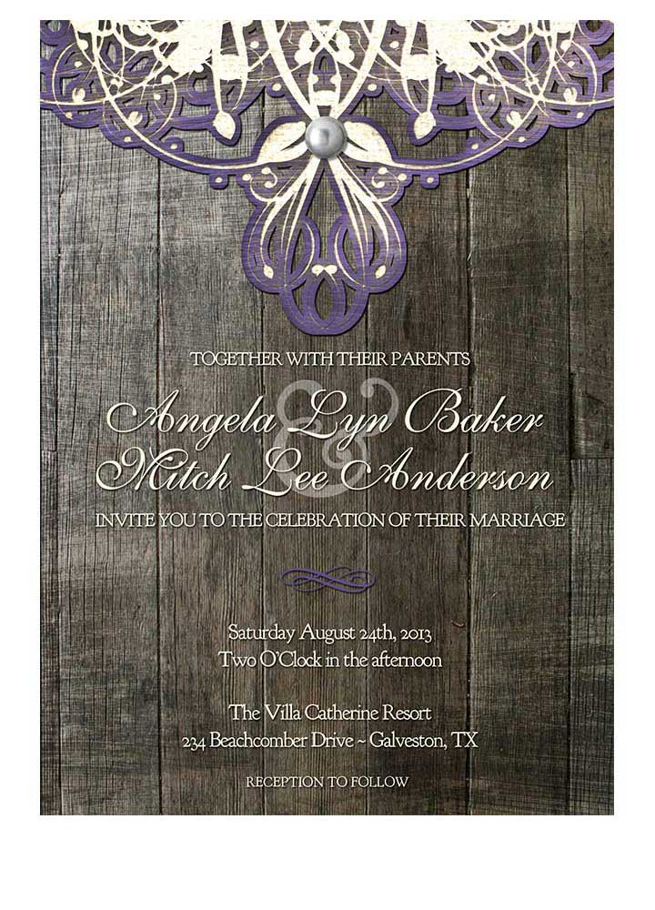 Doily Lace Purple Wedding Invitation