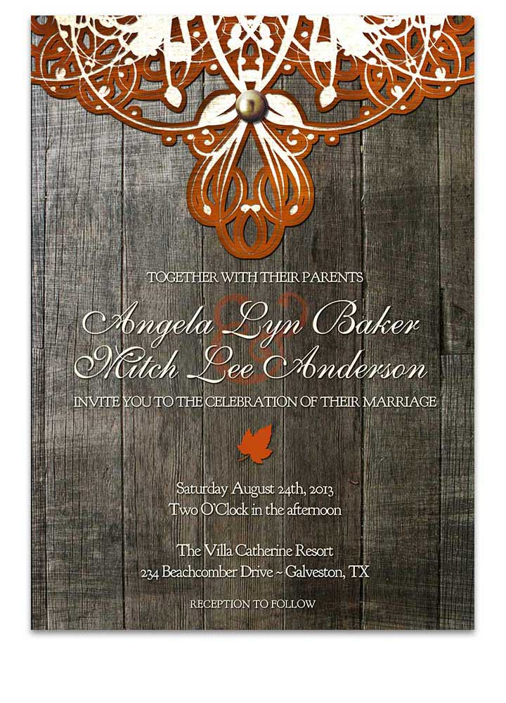 Doily Lace Autumn Orange Wedding Invitation