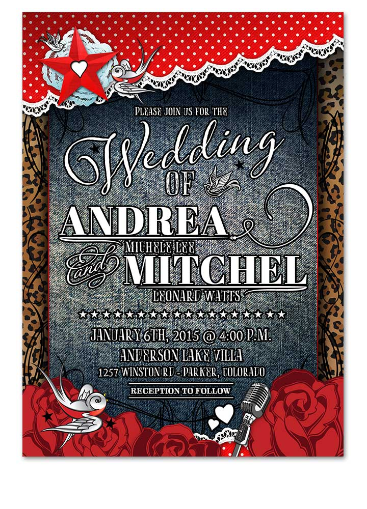rockabilly denim lace polka dot wedding invitation