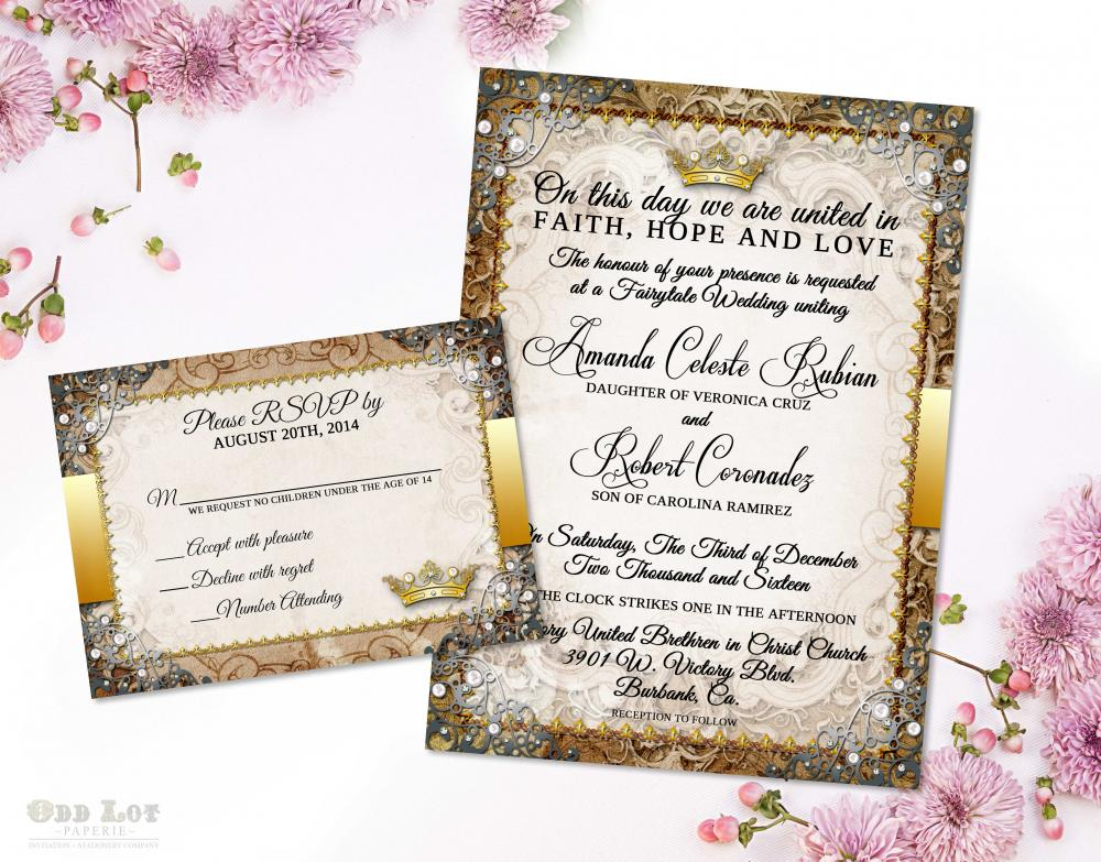fairytale royal wedding invitation gold  gold wedding invite