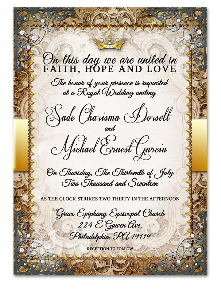 Fairytale Royal Wedding Invitation Gold