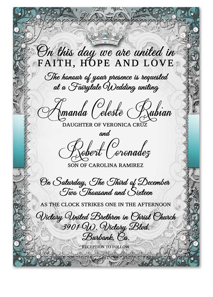 fairytale royal wedding invitation silver royal wedding style
