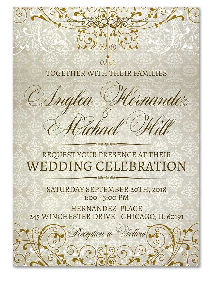 fancy gold flourishes wedding invitation for elegant weddings