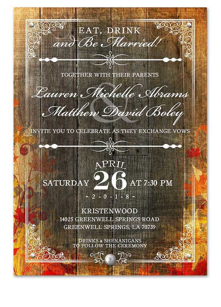 Fancy Fall Leaves Wedding Invitation