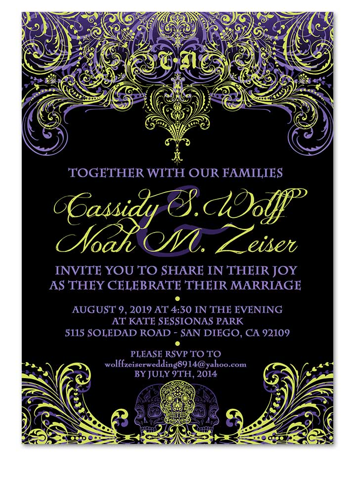 Gothic Flourishes Skull Wedding Invitation