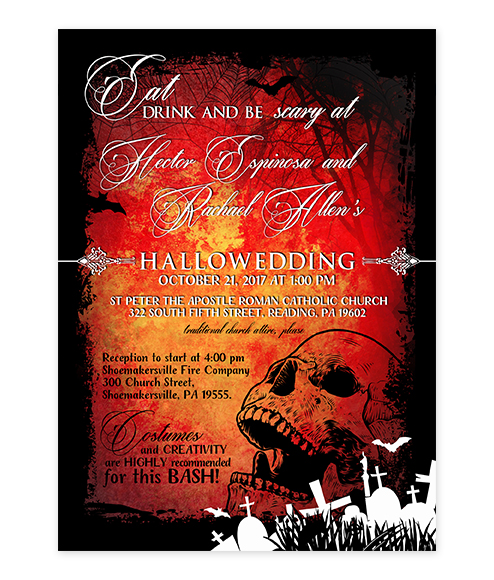 Halloween Skull Graveyard Red Wedding Invite