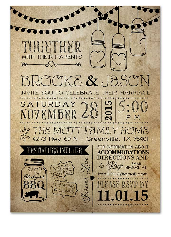 Rustic Bbq Mason Jar Wedding Invitation
