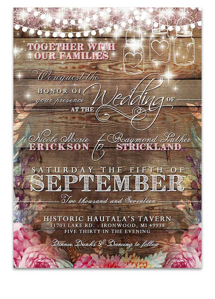 Rustic Boho Bright Floral Wedding Invitation