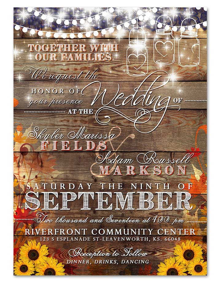 Rustic Fall Sunflower Wedding Invitation