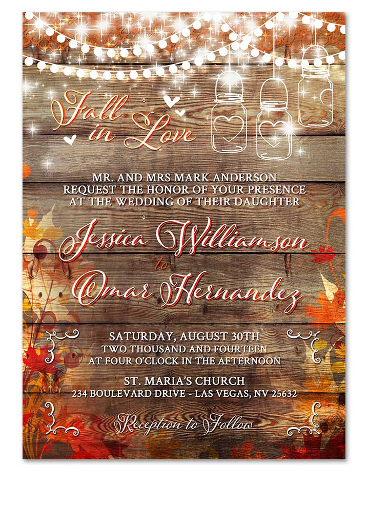 Digital Rustic Autumn Fall In Love Wedding Invitation