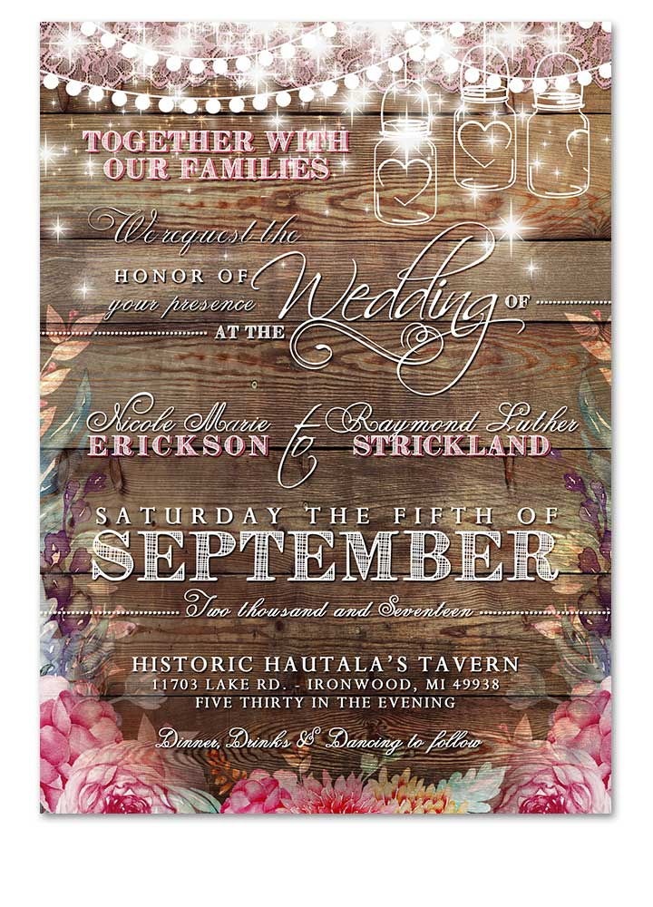 Modern Rustic Pink Boho Floral Wedding Invitation