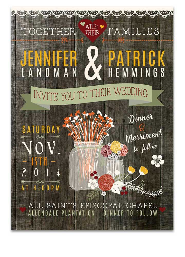 Poster Style Rustic Autumn Mason Jar Invitation