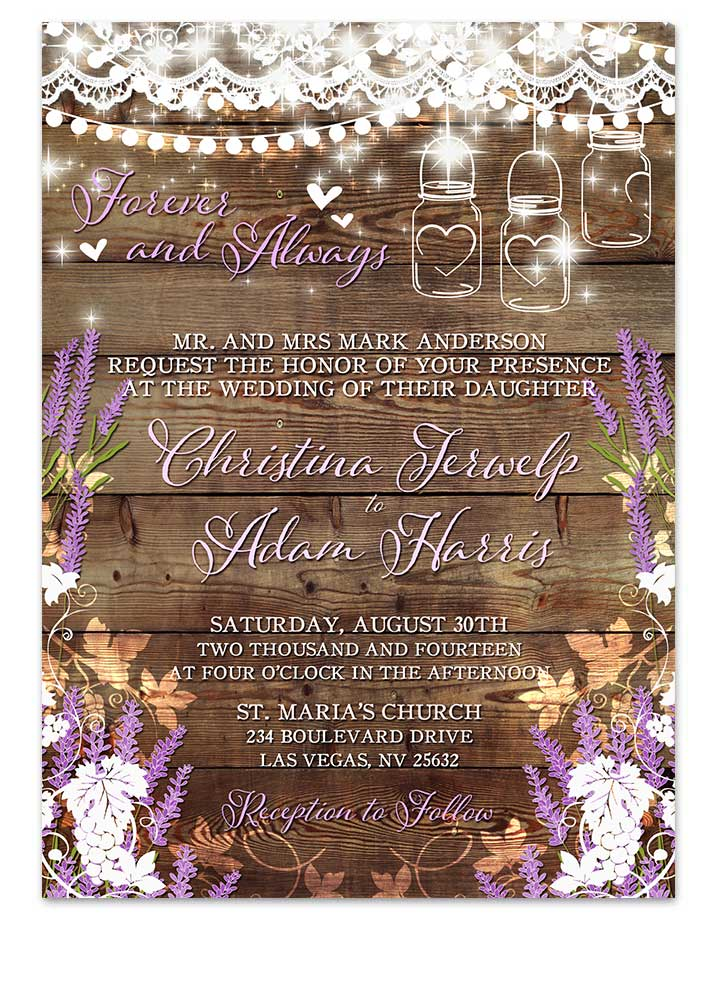Rustic Lavender Sprigs Mason Jar Wedding Invitations