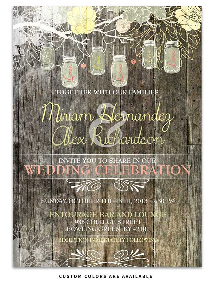 Hanging Mason Jar rustic Wood Wedding Invitation