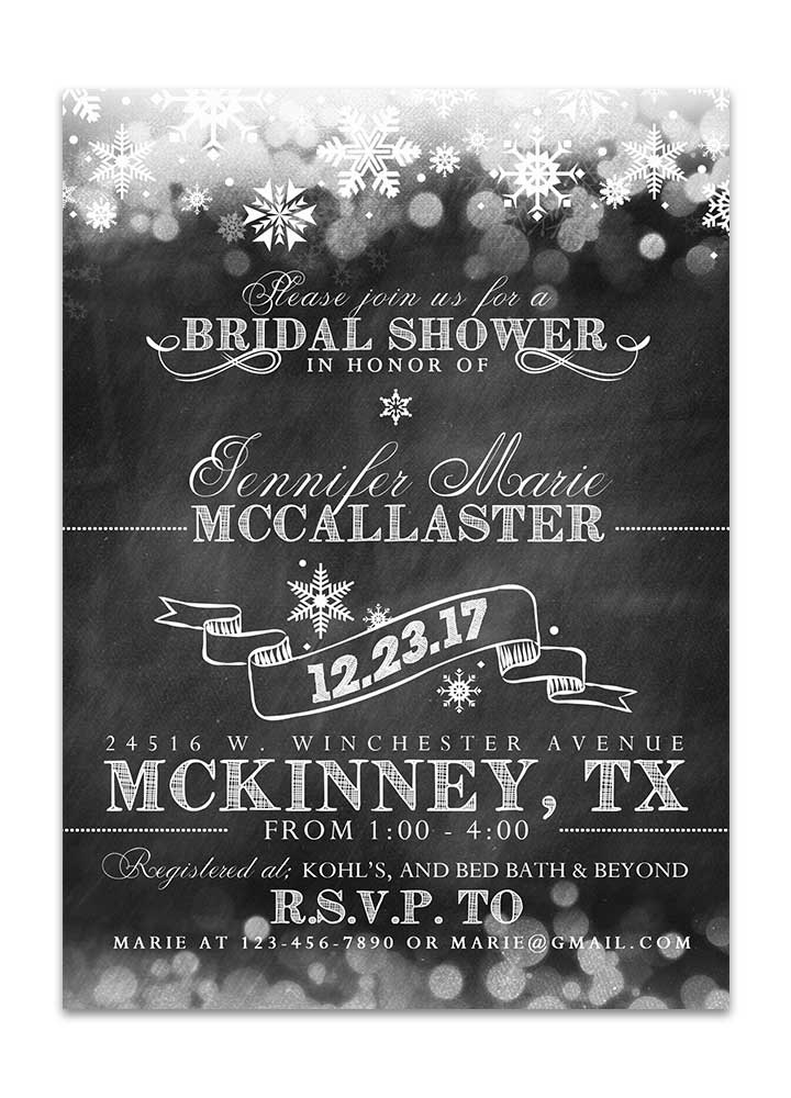 winter chalkboard bridal shower invitation