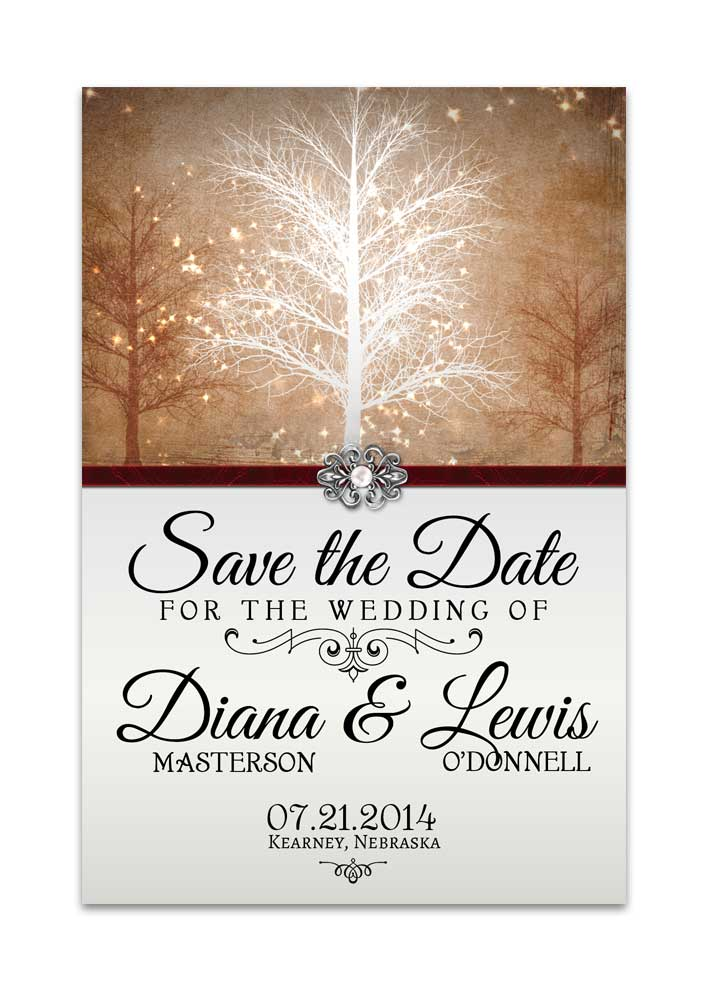 winter wonderland save the date card gold for weddings