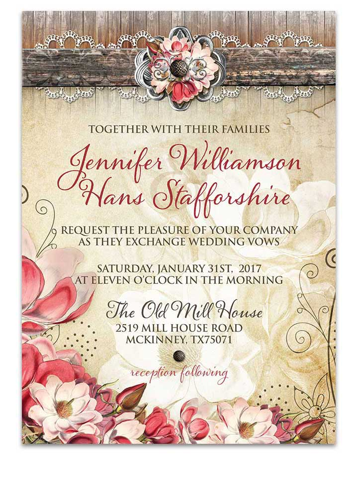 Magnolia Flower Country Rustic Wedding Invitation