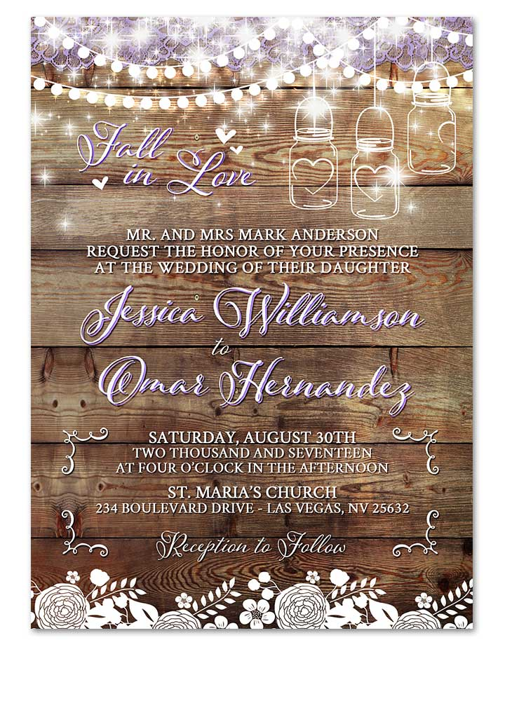 Digital Rustic Lace Mason Jar Wedding Invitation Portrait