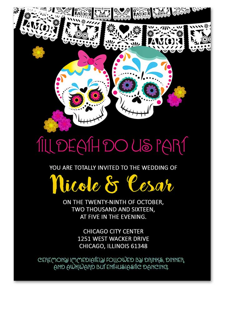 Digital Calaveras Sugar Skull Day Of The Dead Wedding Invitation