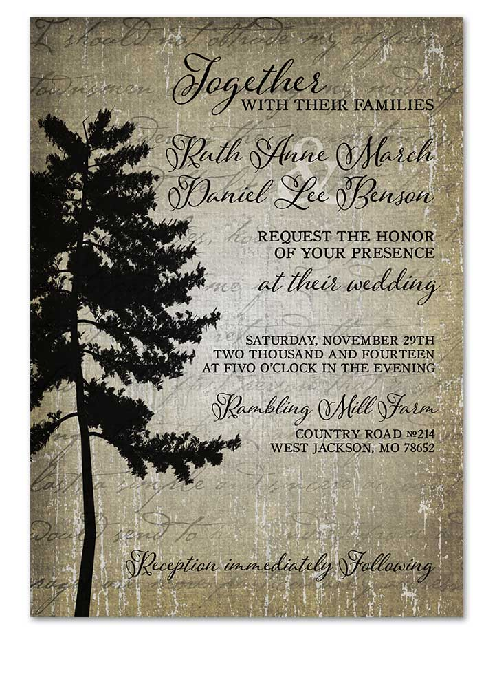 Digital Vintage Tall Tree Themed Wedding Invitation