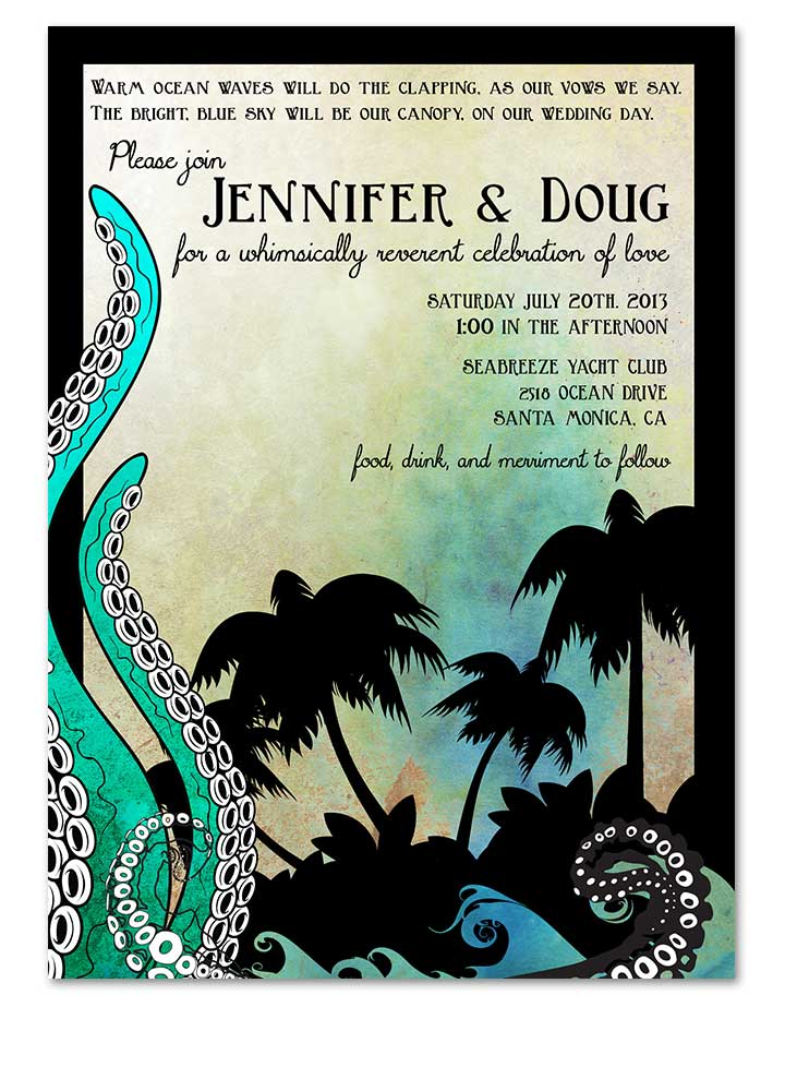 Octopus Aquarium Beach Wedding Invitation