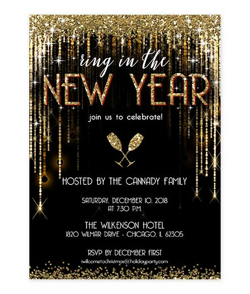 New Years Eve Gold Glitter Party Invitation