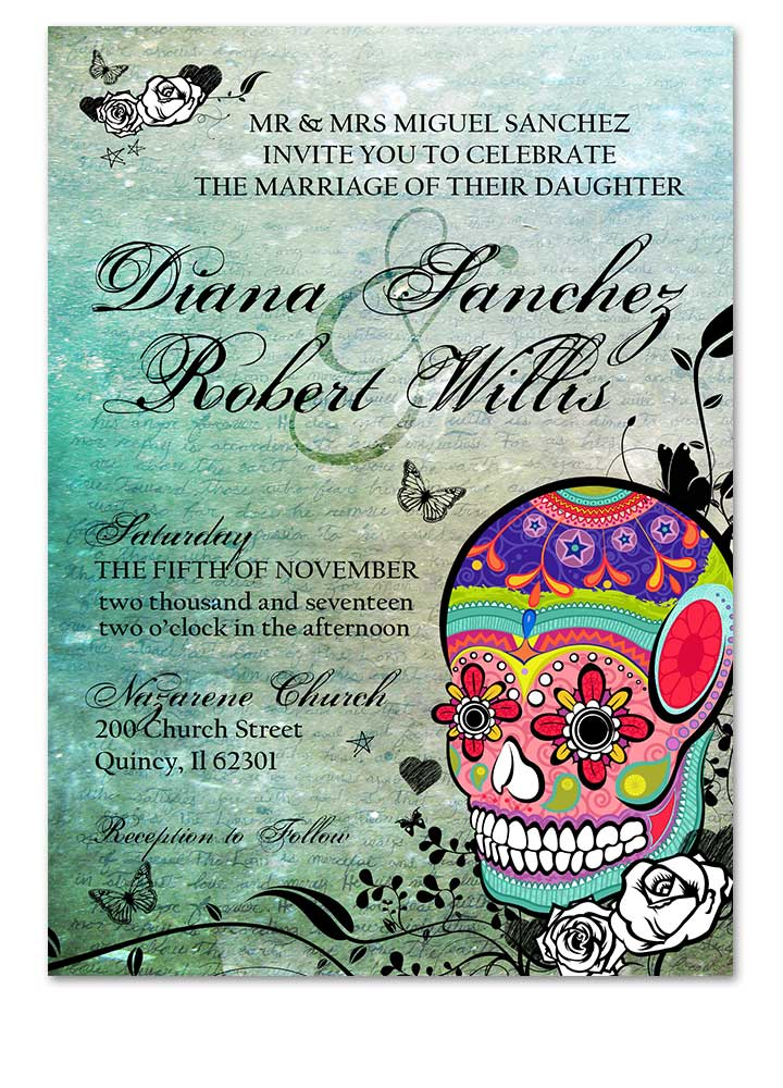 Multicolored Sugar Skull Wedding Invite - Vertical