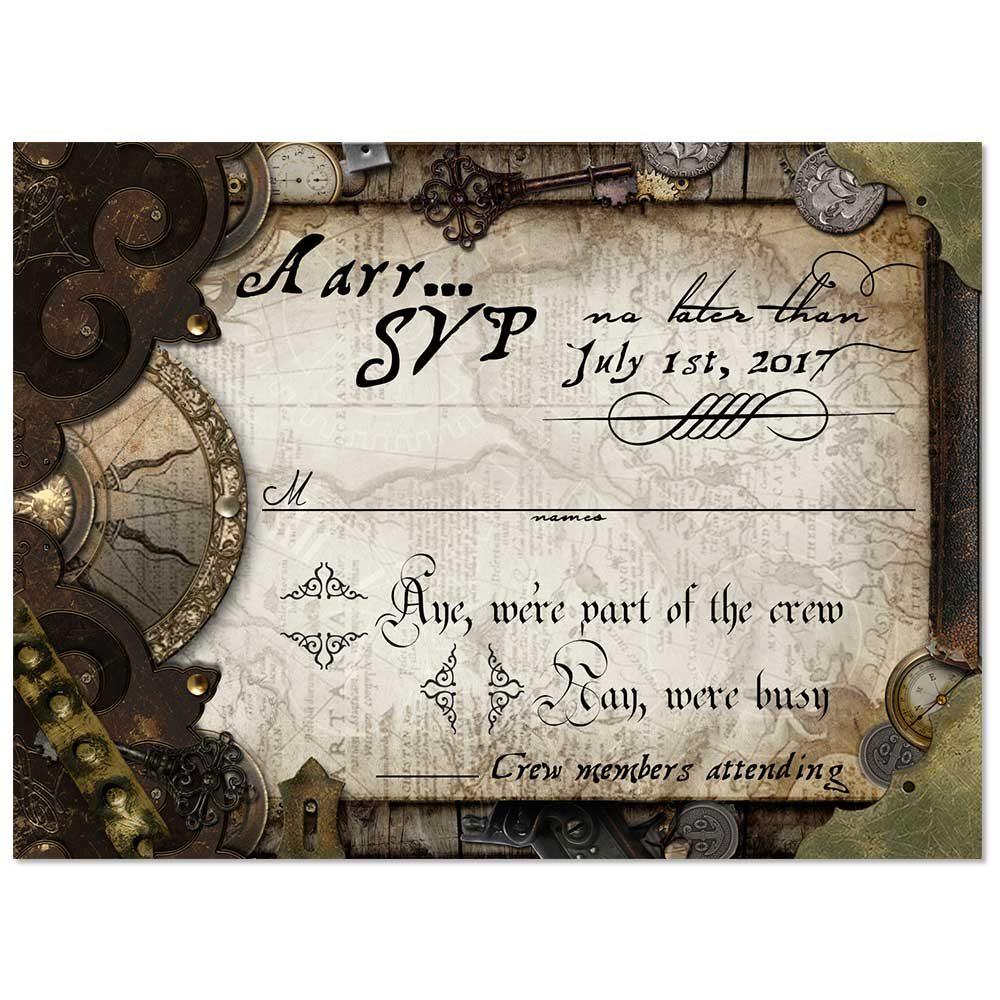 Custom Made Party Invitations. Steampunk Old World Pirate RSVP Card