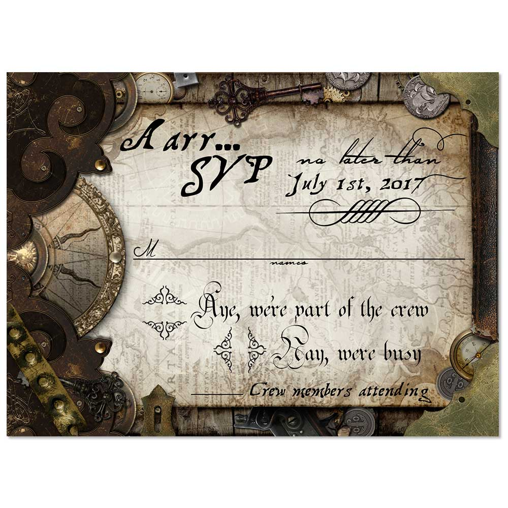 Custom Made Party Invitations Steampunk Old World Pirate RSVP Card