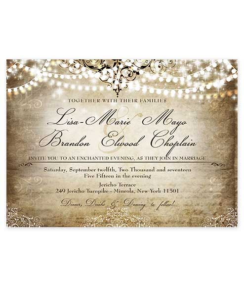 Old World Hanging Lights Wedding Invitation