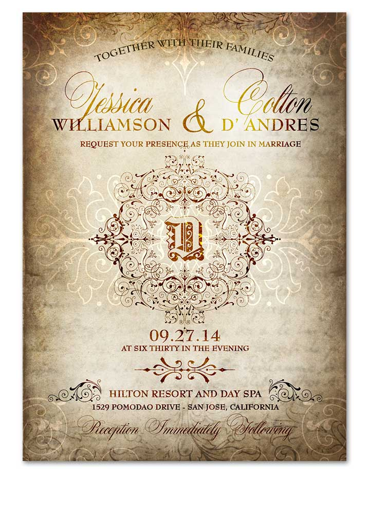 Elegant Old World Wedding Invitation