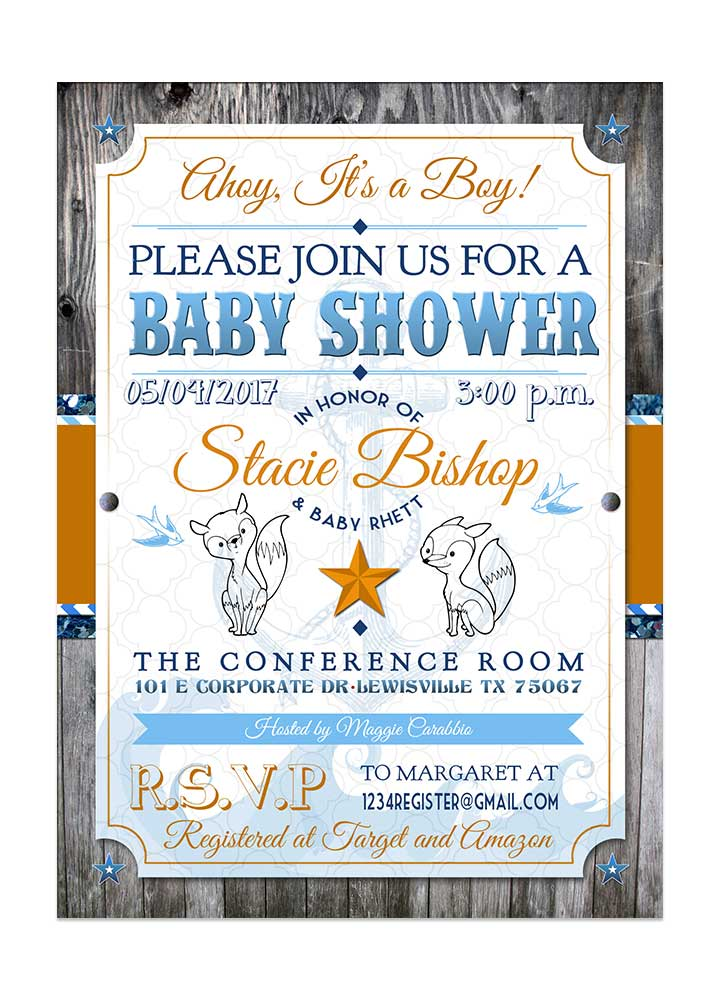 Rustic Nautical Baby Shower Invite - Fox - Odd Lot Paperie